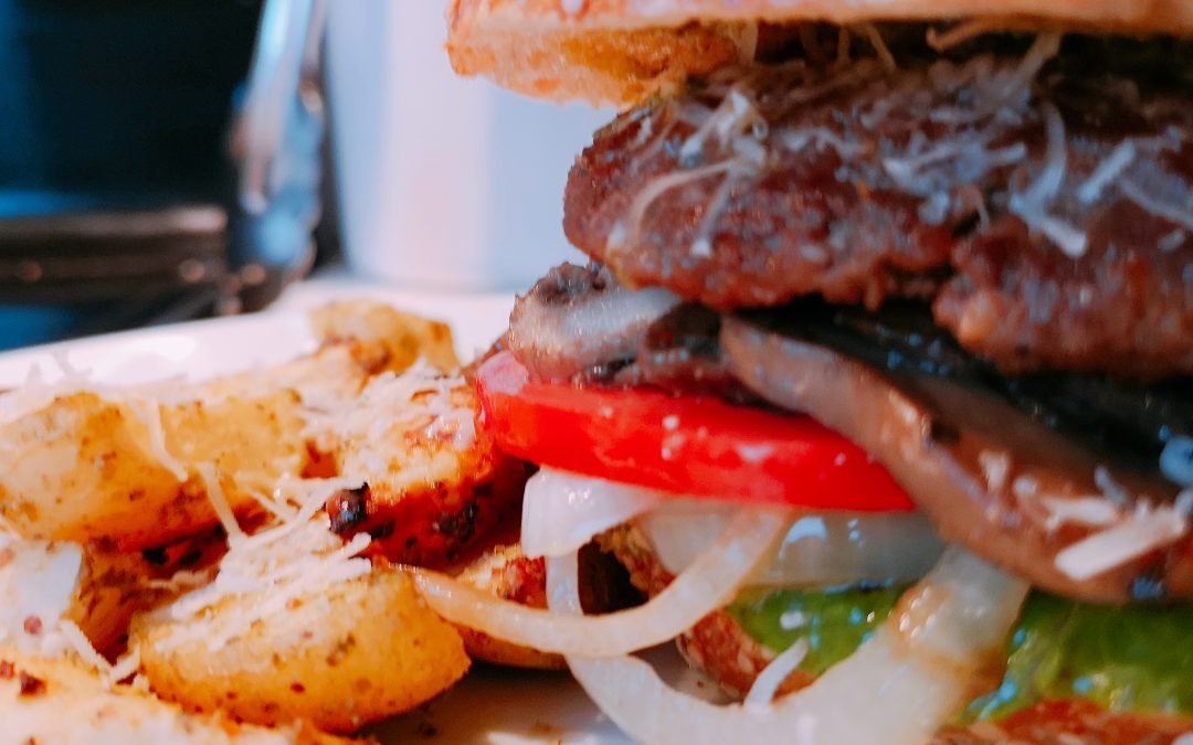 Lamb Burgers with Pesto Roasted Baby Potatoes