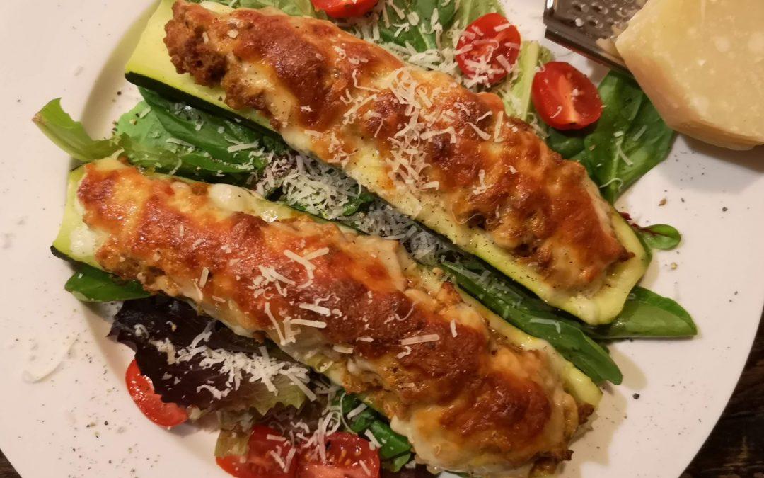 Cheesy Ragu Stuffed Zucchini