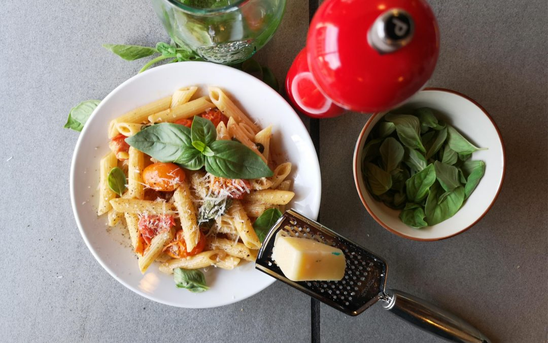 Penne & Cherry Tomatoes in Garlic Cream