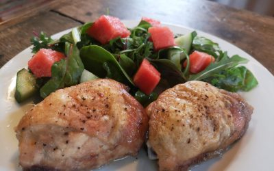 Salt and Pepper Chicken with Fresh Greens