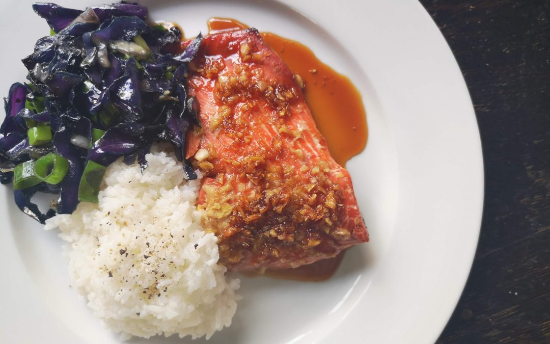 Honey Ginger Salmon with Sautéd Red Cabbage & Rice