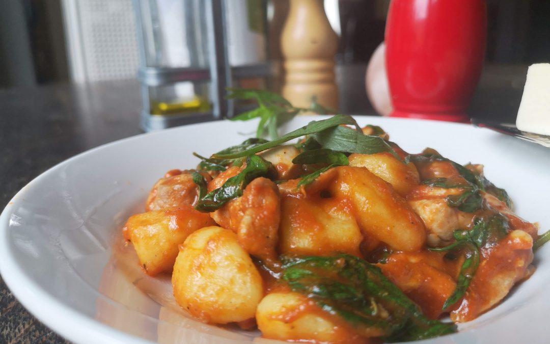 Gnocchi in Cherry Tomato Sauce with Chicken, Spinach, & Tarragon