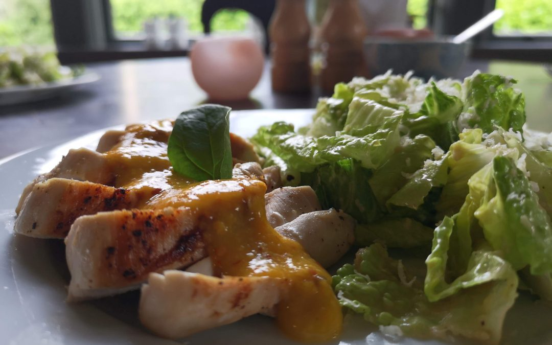 Grilled Chicken with Mango Chili Coulis & Caesar Salad