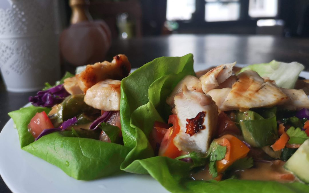 FRIDAY – Chicken Lettuce Wraps with Spicy Peanut Sauce & Roasted Potato Wedges