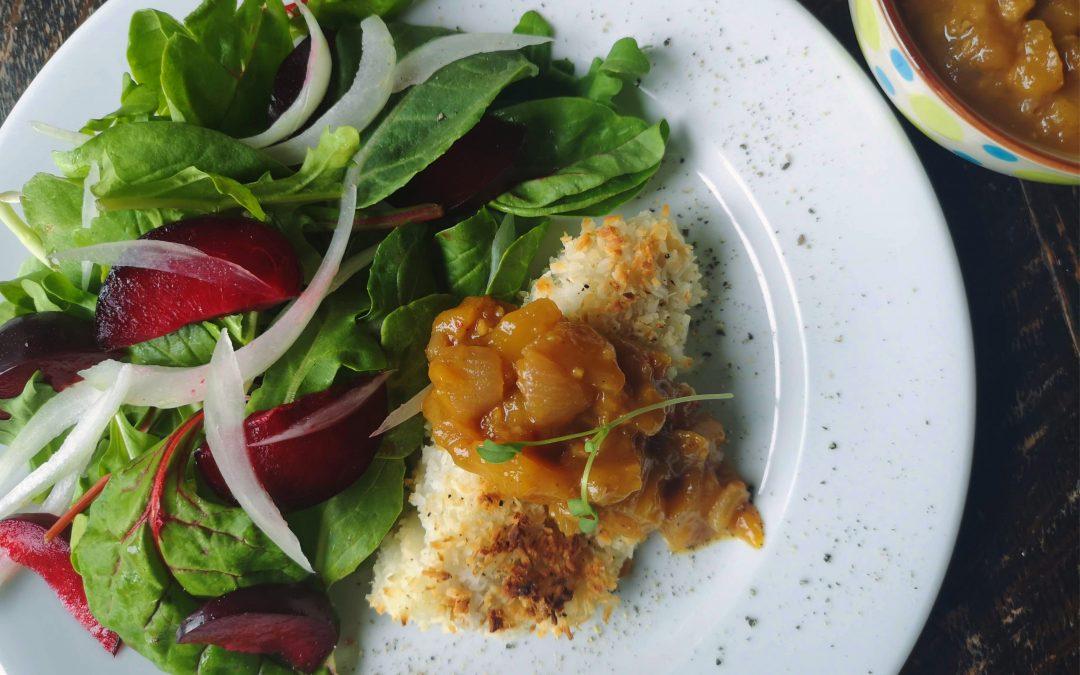 THURSDAY – Coconut Crusted Cod with Mango Chutney