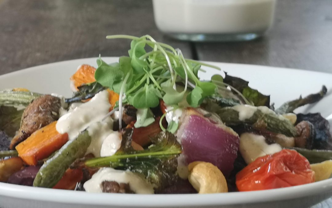 Roasted Vegetables & Cashews with Quinoa & Tahini  Sauce