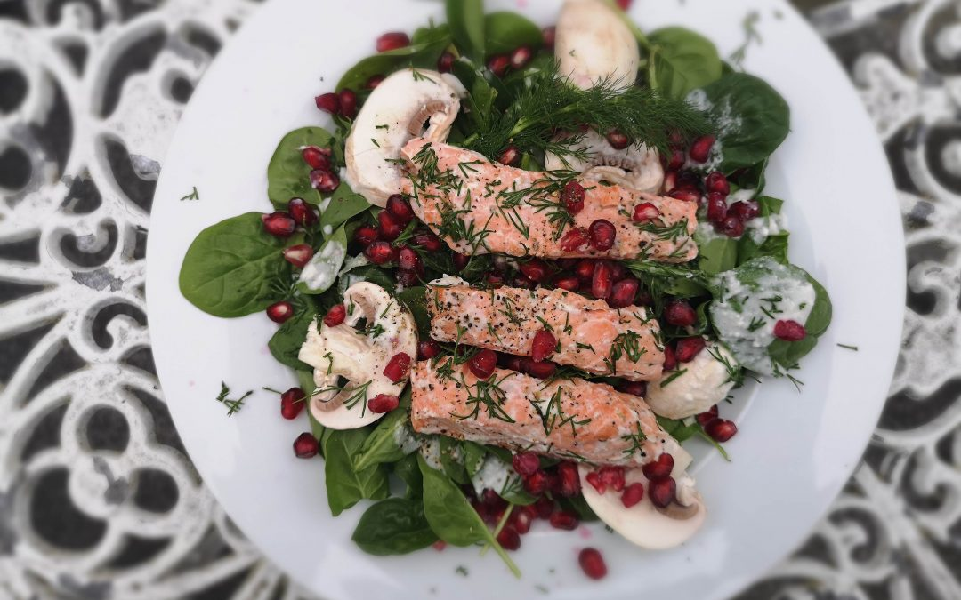Salmon Spinach & Pomegranate Salad with Lemon Coconut Dressing