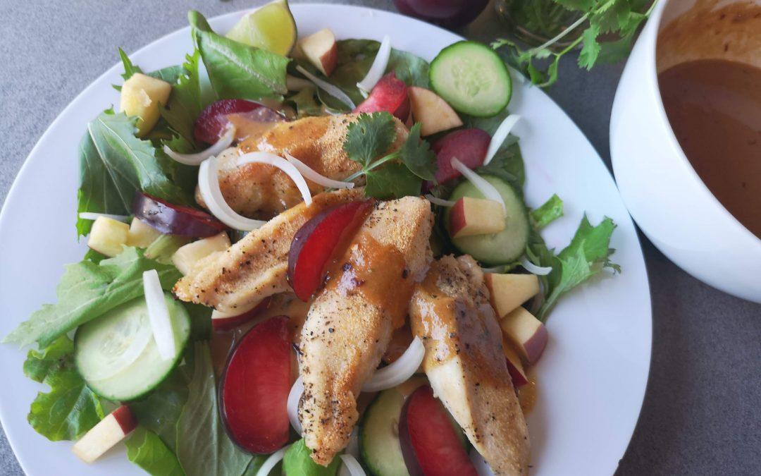 Garlic Chicken Salad with Sweet & Spicy Peanut Dressing