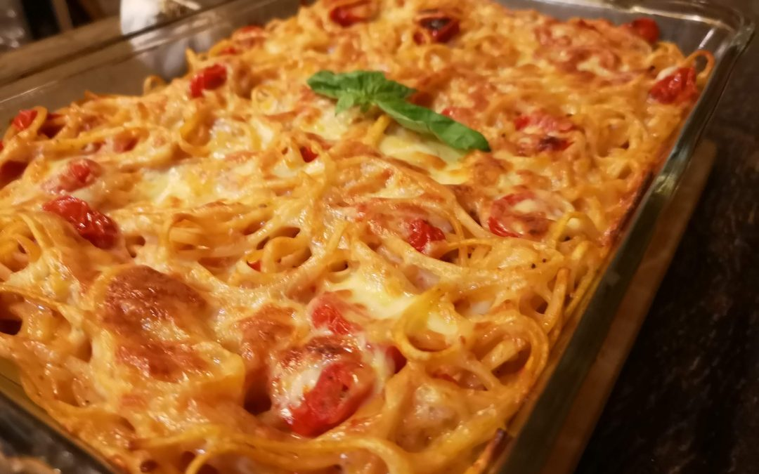 Baked Spaghetti Caprese
