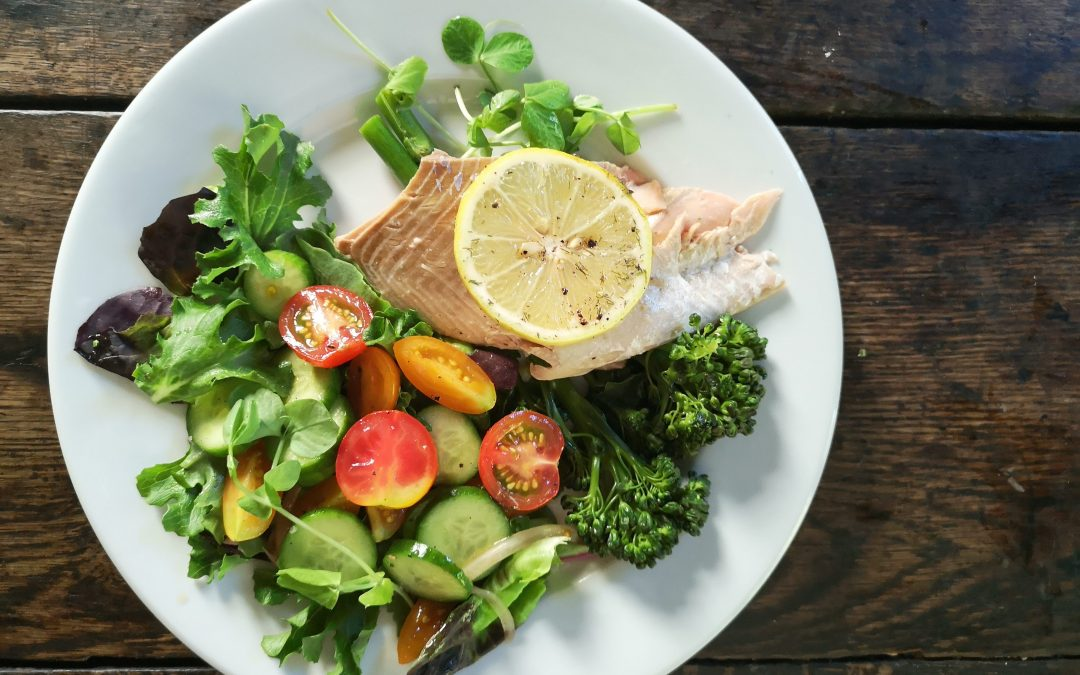 Baked Whole Salmon with Broccolini & Fresh Salad Greens