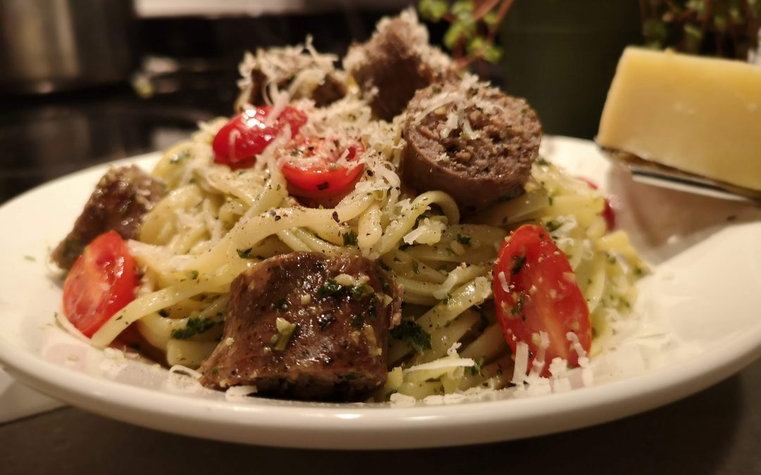 Pesto Linguine with Sausage