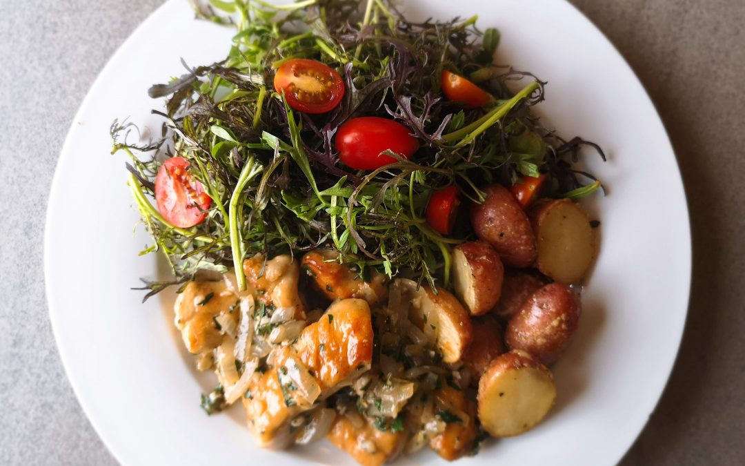 Chicken Provence with Asiago Roasted Nugget Potatoes & Fresh Seasonal Greens