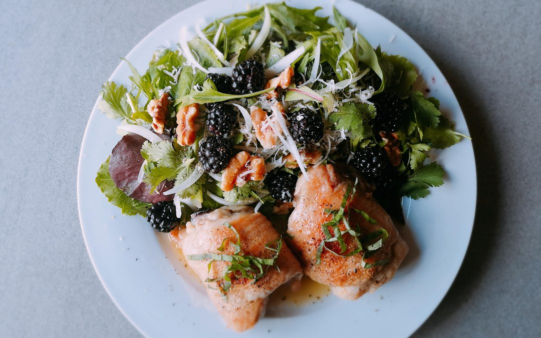 Crispy Baked Chicken with Blackberry Salad