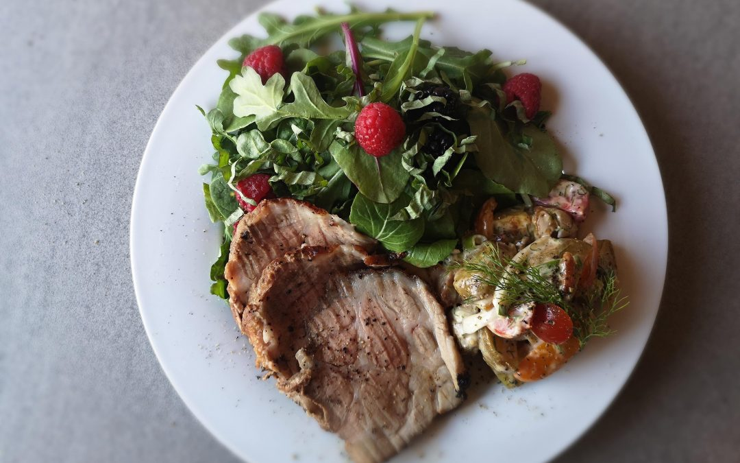 Garlic Balsamic Pork Roast with Fresh Greens and Berries