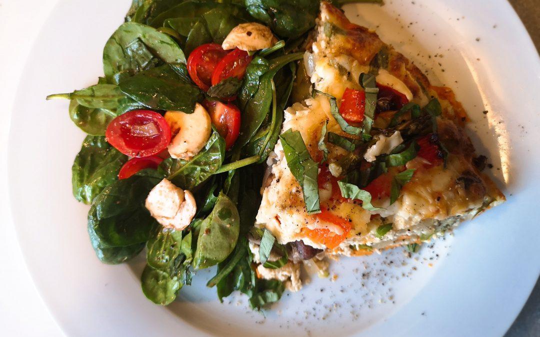 TUESDAY – Yam Crusted Bacon Mushroom & Asparagus Ricotta Pie