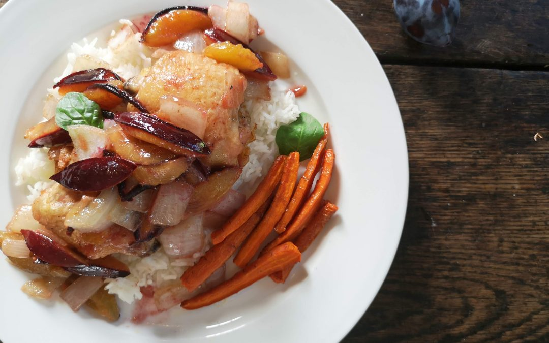 MONDAY- Roasted Chicken with Buttered Plums & Onions