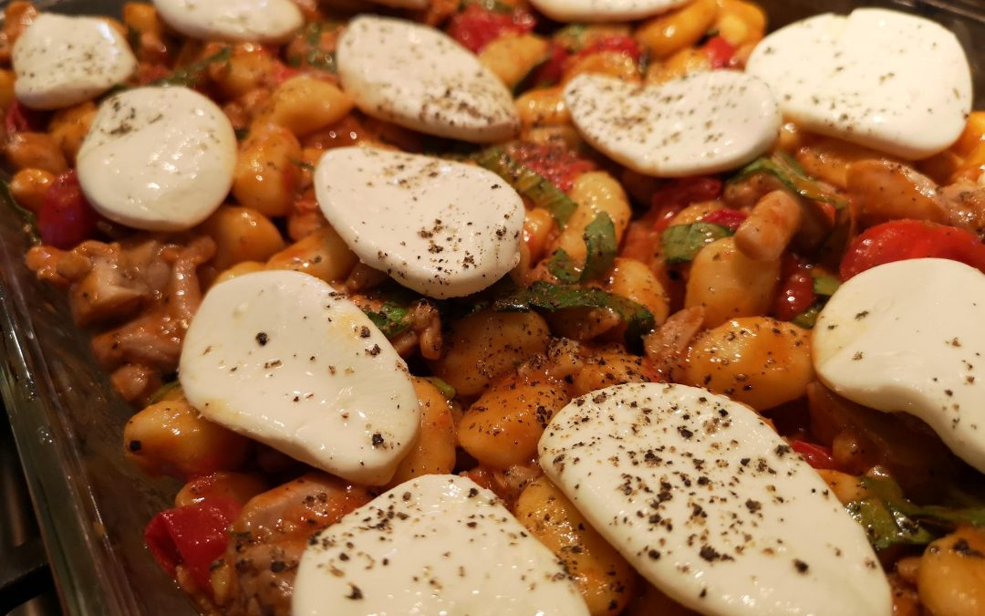 Baked Gnocchi Caprese with Chicken