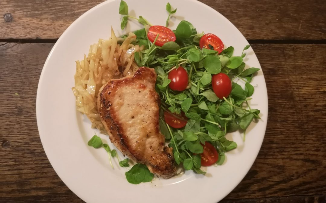 Garlic Pork Chops with Sautéed Cabbage & Fresh Greens