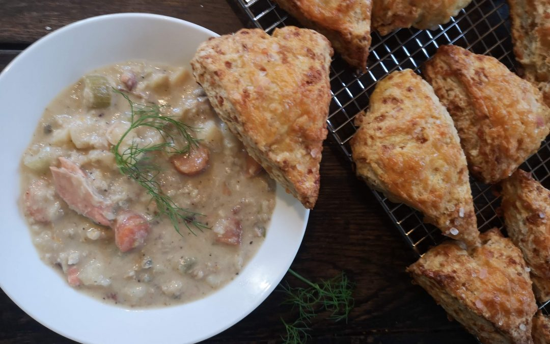 Westcoast Chowder with Cheese Scones