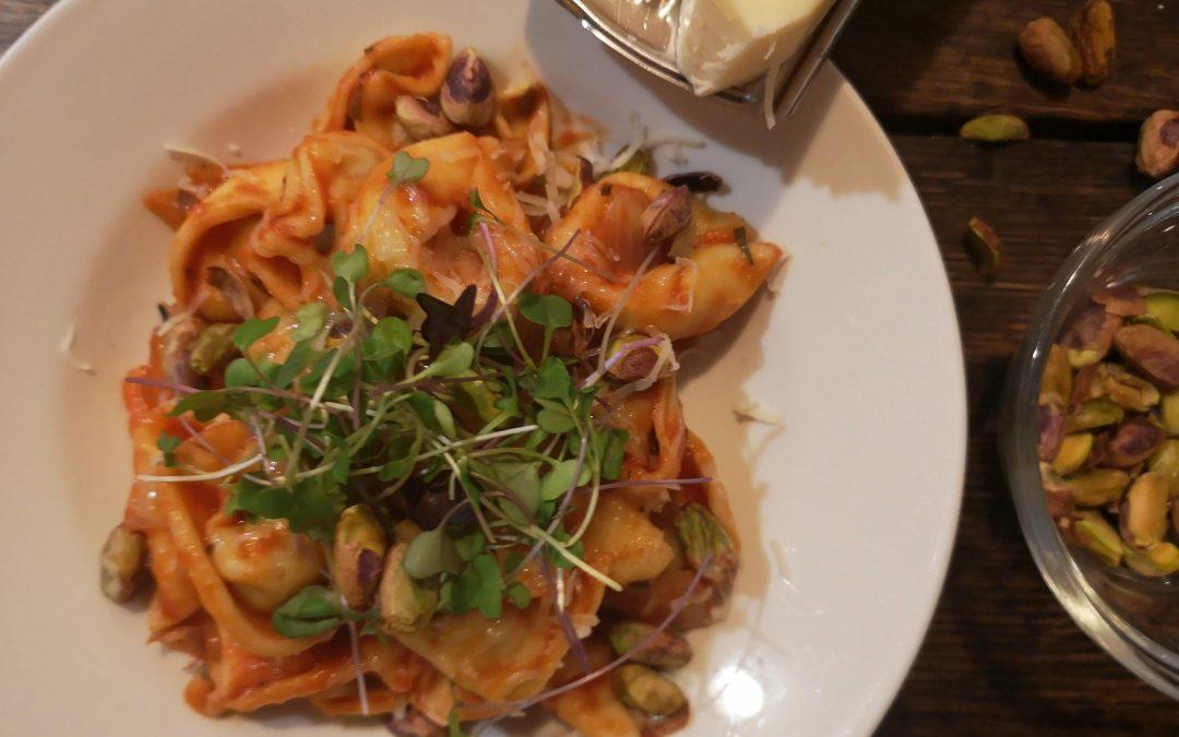 Cheese Tortellini with Pancetta in Tomato Tarragon Sauce