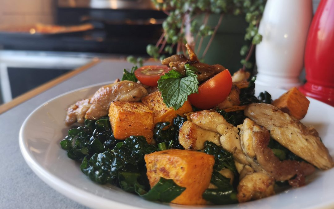 Nutmeg Roasted Yams & Garlic Chicken with Kale, Pear, & Mango Salad