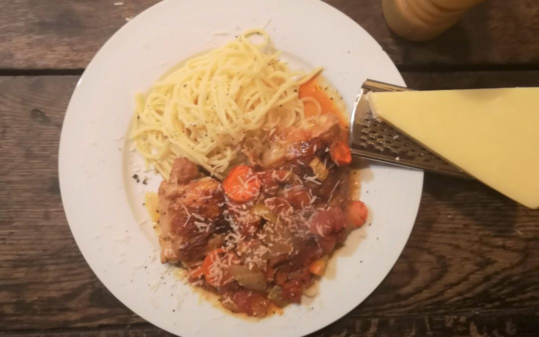 Hunter Chicken with Buttered Spaghetti
