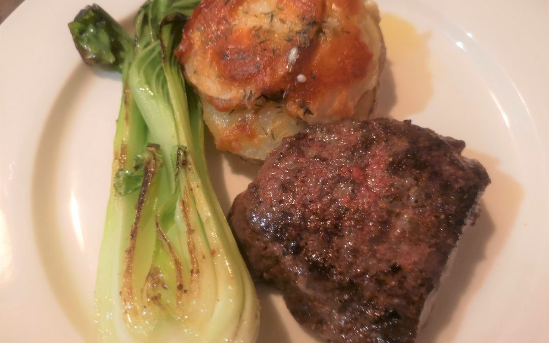 Beef Steak with Mini Scalloped Potatoes and Grilled Bok Choy