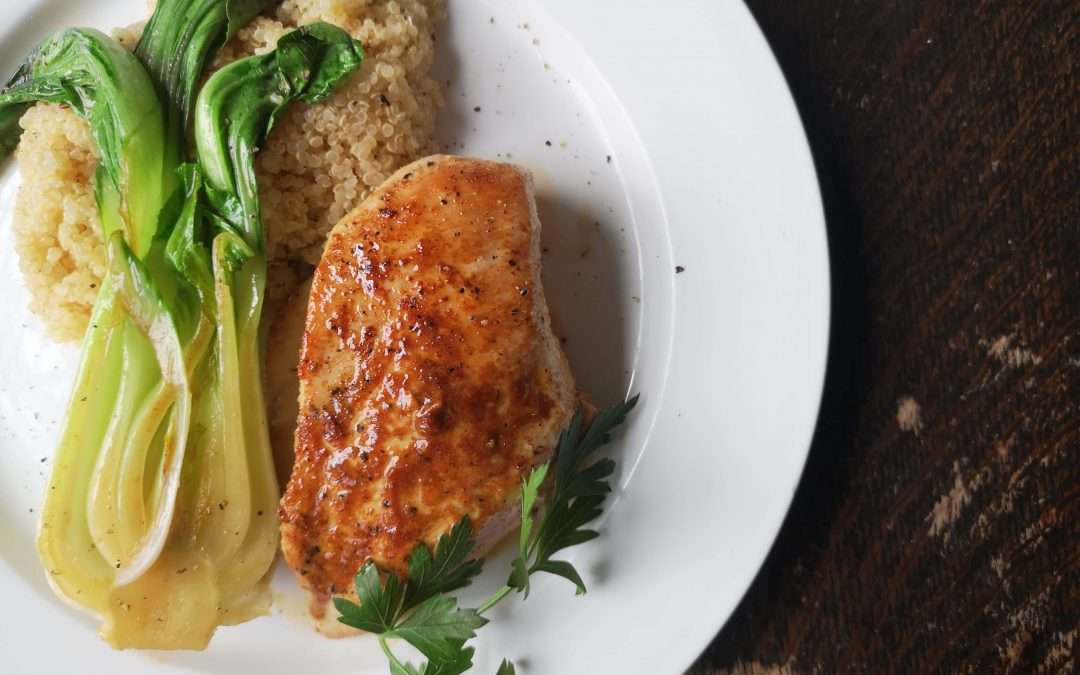Pan Seared Chicken in Lemon Lime Butter with Grilled Bok Choy & Lemon Butter Quinoa