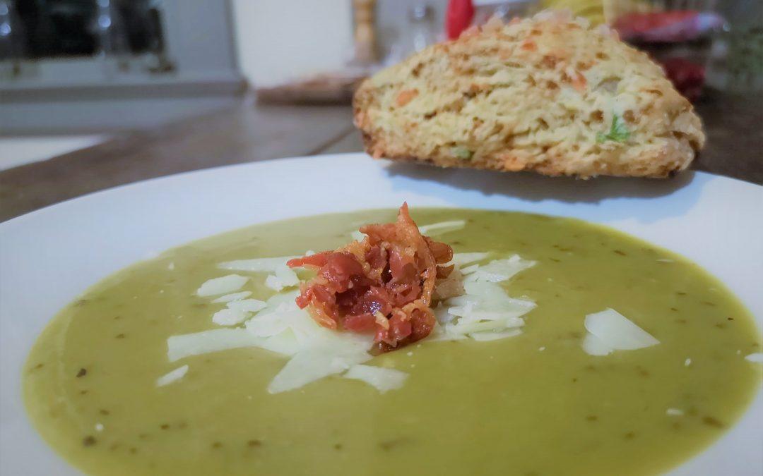 Crispy Prosciutto Topped Split Pea Soup with Asiago & Onion Scones