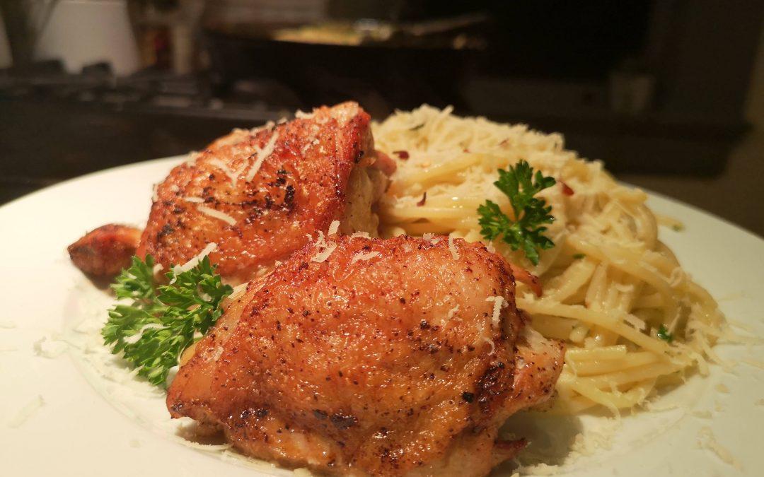 Crispy Baked Chicken with Spaghetti Aglio e Olio