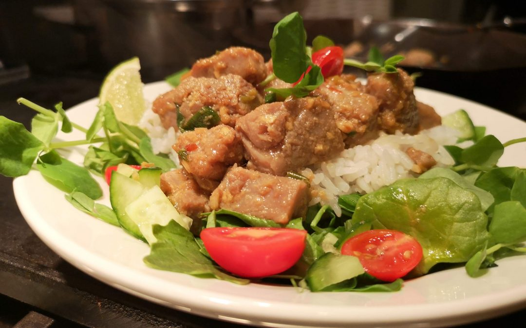 Ginger Garlic Pork with Rice and Greens