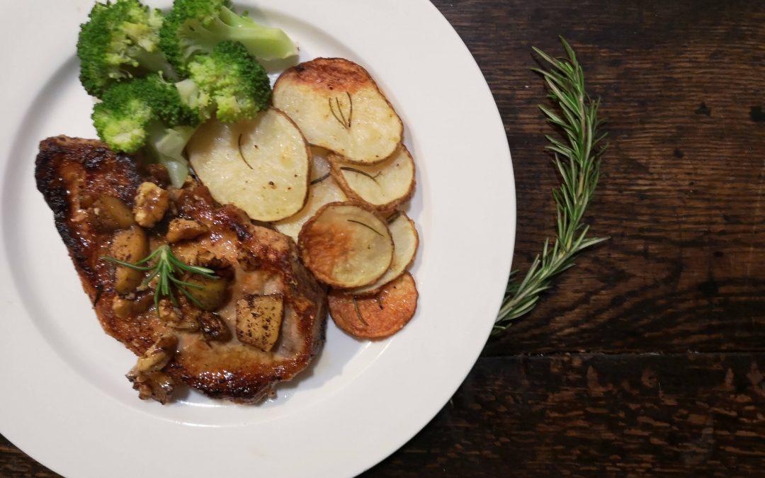 Rosemary Garlic Buttered-Up Pork Chops with Sautéed Apples, Garlic Asiago Roasted Potato Scallops & Broccoli