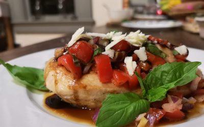 Garlic Seared Chicken with Bruschetta, Balsamic Syrup, and Garlic Parmesan Roasted Potatoes