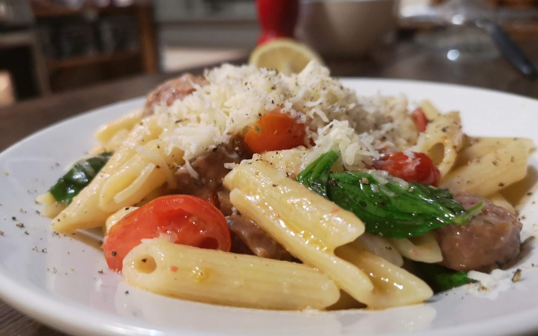Butter Lemon Garlic Penne with Sausage