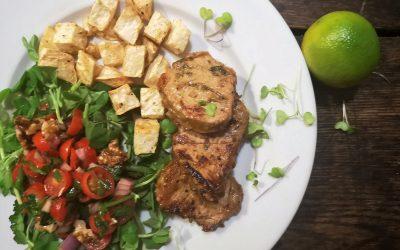 Honey Lime Marinated Pork Tenderloin with Roasted Celeriac & Fresh Greens